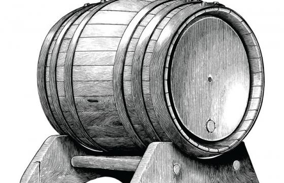 手绘插画风格啤酒桶葡萄酒桶图片免抠矢量图素材