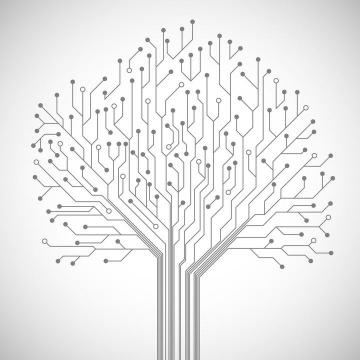 创意电路板线条组成的树状结构图案免扣图片素材