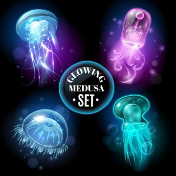四款唯美风格的绚丽发光水母海洋生物图片免抠素材