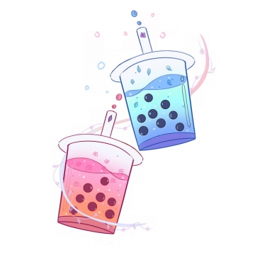 两杯卡通珍珠奶茶946681png图片素材