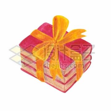 包扎上黄色蝴蝶结的书本世界读书日水彩画插画png图片免抠矢量素材