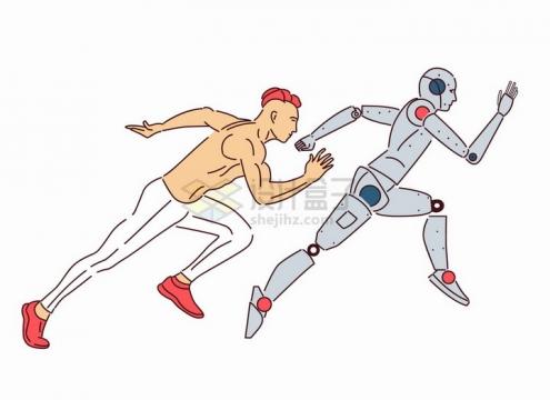 男人和机器人赛跑比赛手绘线条插画png图片素材
