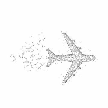 三角形多边形组成的飞机客机俯视图png图片免抠矢量素材