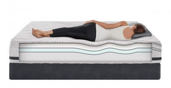 女子躺在床垫上展示效果png图片透明背景免抠素材