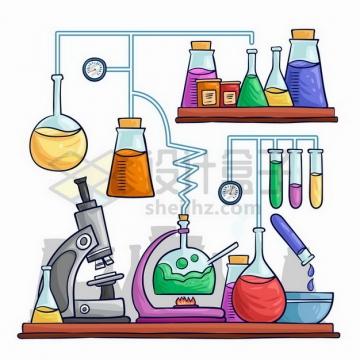 手绘风格烧瓶显微镜锥形瓶试管酒精灯沙漏的化学实验仪器组合插画png图片免抠矢量素材