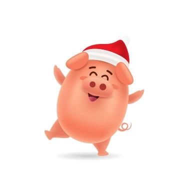 戴着圣诞帽跳舞的可爱卡通小猪图片免抠矢量图素材