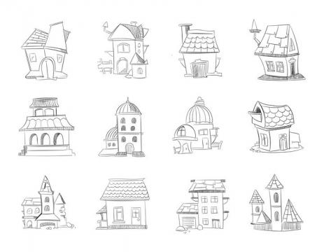 12款手绘线条素描卡通漫画房屋简笔画图片免抠矢量素材