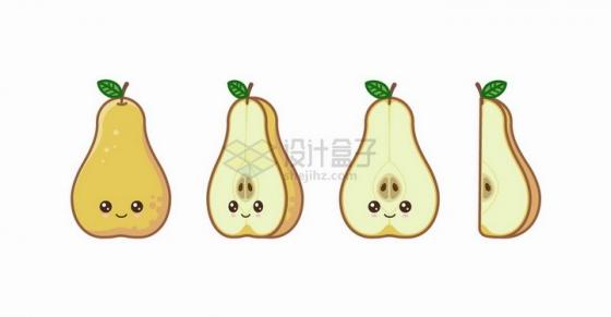 卡通梨子自带各种表情水果png图片免抠矢量素材