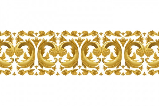 复古风格的立体金色花纹装饰图片免抠矢量素材