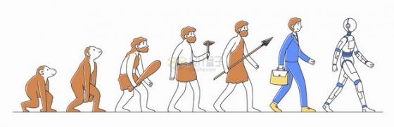 从猿猴进化成人类再进化成机器人扁平插画png图片素材