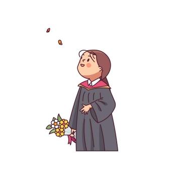 可爱卡通手捧鲜花的小女孩图片免扣素材