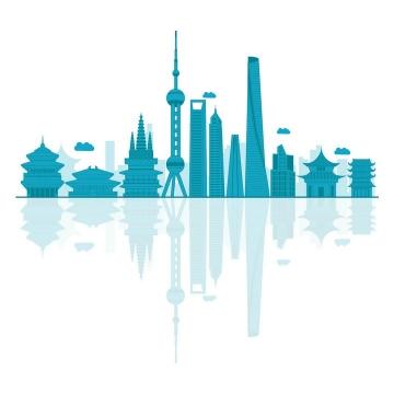 蓝色的上海城市建筑天际线图片免抠矢量图素材