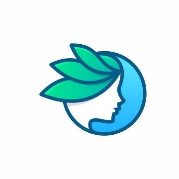 圆形蓝色背景绿色头发美女美容美发logo设计方案png图片免抠矢量素材
