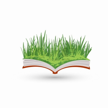 翻开书本上的青草丛自然风光png图片免抠矢量素材
