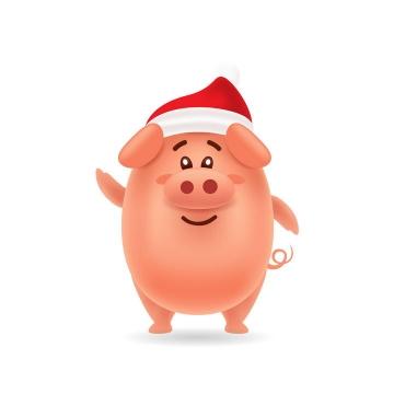 戴着圣诞帽的可爱卡通小猪图片免抠矢量图素材