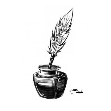 铅笔素描风格墨水瓶和鹅毛笔695544png图片素材