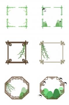 6款春天清明节中国风窗格png图片免抠素材