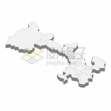 甘肃省地图3D立体阴影行政划分地图398865png矢量图片素材
