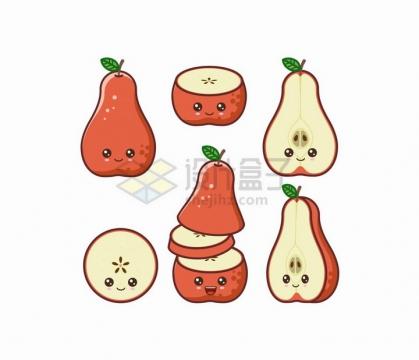卡通红皮梨自带各种表情水果png图片免抠矢量素材