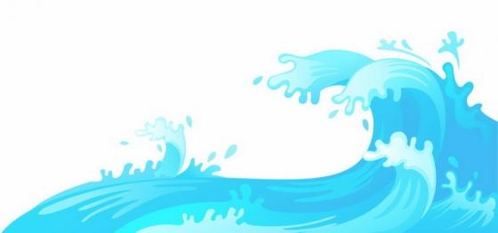卡通漫画风格蓝色海浪波浪png图片免抠eps矢量素材