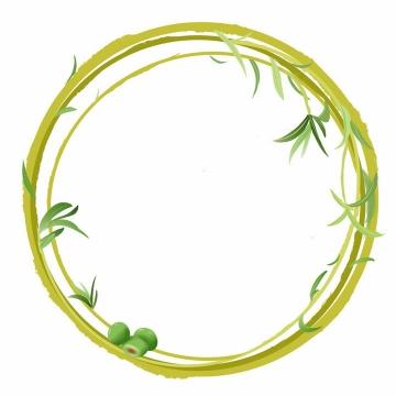 绿色藤蔓树叶组成的圆形文本框边框png图片免抠素材