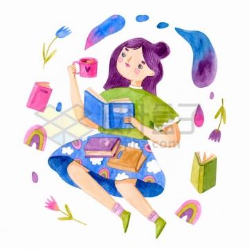 喝咖啡看书的女孩水彩插画png图片素材