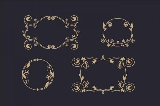 复古风格树枝金色花纹装饰边框图片免抠矢量素材