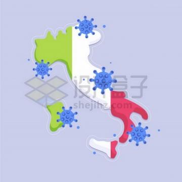 卡通新型冠状病毒沾在意大利地图上png图片免抠矢量素材