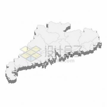 广东省地图3D立体阴影行政划分地图106066png矢量图片素材