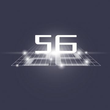 立体方格线中白色5G字体176896png图片素材