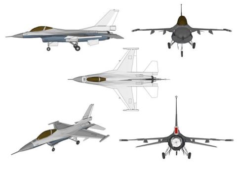 5个不同角度的F16战斗机飞机图片免抠素材