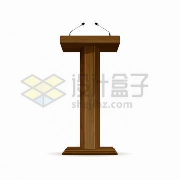 两支话筒的深色木制演讲台825907png图片素材