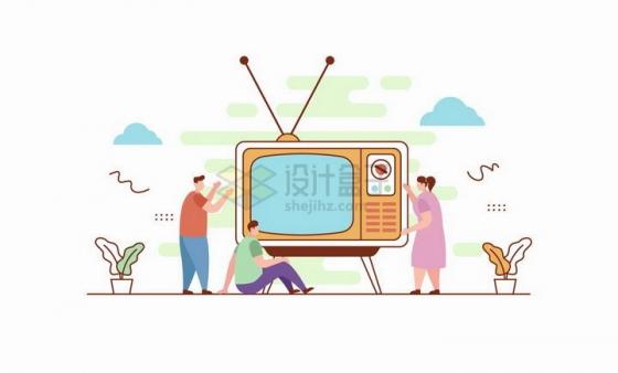扁平插画风格坐在大大的电视机前看电视机的一家人png图片免抠矢量素材