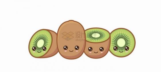 卡通猕猴桃奇异果自带各种表情水果png图片免抠矢量素材
