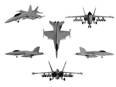 6个不同角度的F18战斗机飞机图片免抠素材