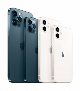 蓝色和白色的苹果iPhone 12 Pro手机png免抠图片素材534923