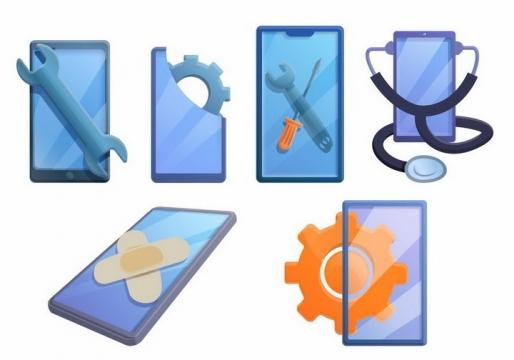 卡通抽象风格扳手创口贴和手机象征了手机维修服务png图片免抠eps矢量素材