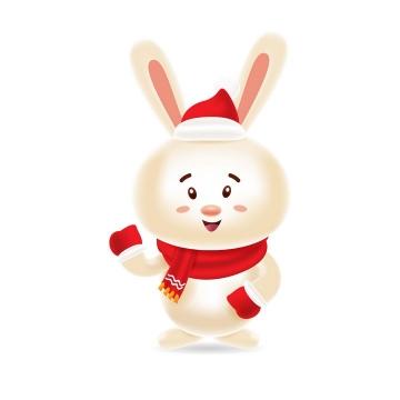 戴着圣诞帽的可爱卡通小兔子图片免抠矢量图素材