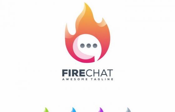 各种颜色的对话符号火焰LOGO设计方案图片免抠矢量素材