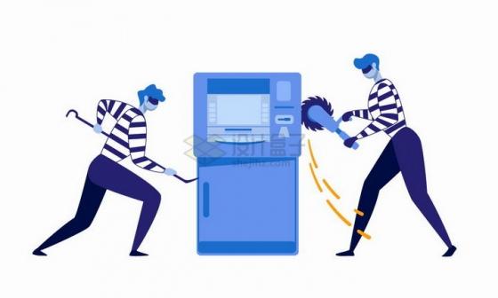 扁平漫画风格正在撬保险柜银行ATM取款机的犯罪分子png图片免抠矢量素材