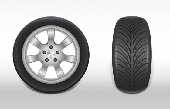 正面和侧面视角的汽车轮胎矢量图免扣素材