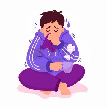 感冒流鼻涕咳嗽的男孩端着热水坐在地上png图片免抠矢量素材