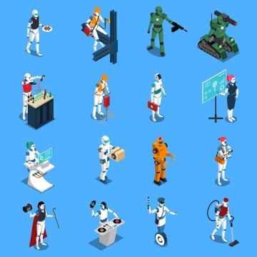 16款2.5D风格各种用途的机器人图片免抠素材