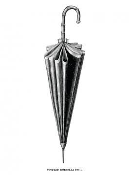 手绘黑色素描风格复古雨伞图片免抠矢量图素材