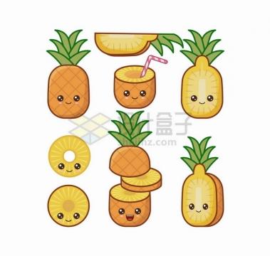 卡通菠萝自带各种表情水果png图片免抠矢量素材