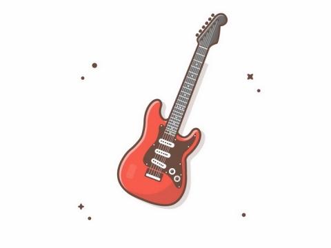 MBE风格红色吉他音乐乐器png图片免抠矢量素材