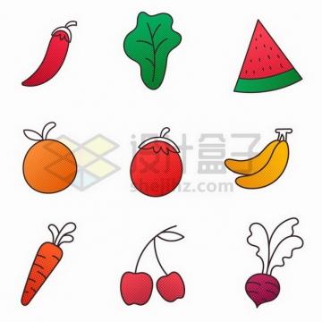 辣椒生菜西瓜橙子香蕉胡萝卜樱桃等蔬菜水果彩色插画png图片免抠矢量素材