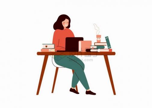 扁平插画坐在桌子前使用电脑的年轻女孩png图片免抠矢量素材