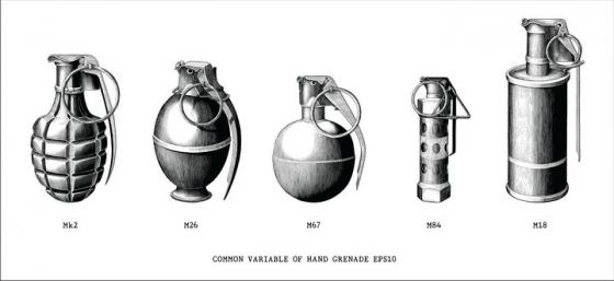 手绘黑色素描风格复古手榴弹武器装备图片免抠矢量图素材