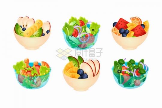 6款切片的水果拼盘蔬菜色拉美味美食png图片免抠矢量素材